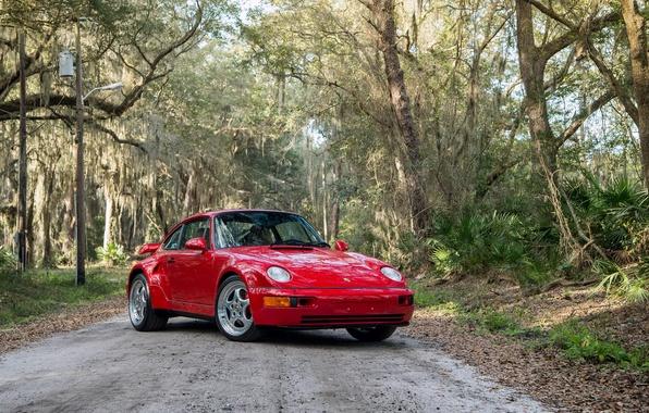 Картинка car, авто, красный, 911, wallpaper, red, порше, Turbo, 1994, 3.6 S, Posche, Flachbau