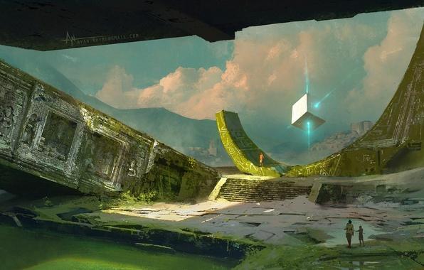 Картинка лучи, люди, арт, куб, руины, заброшенность