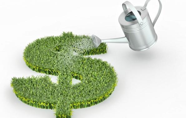 Картинка трава, деньги, всходы, доллар, лейка, полив, доходы, прибыль, рост