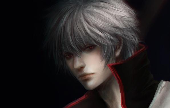 Картинка темный фон, парень, красные глаза, белые волосы, Gintama, Sakata Gintoki