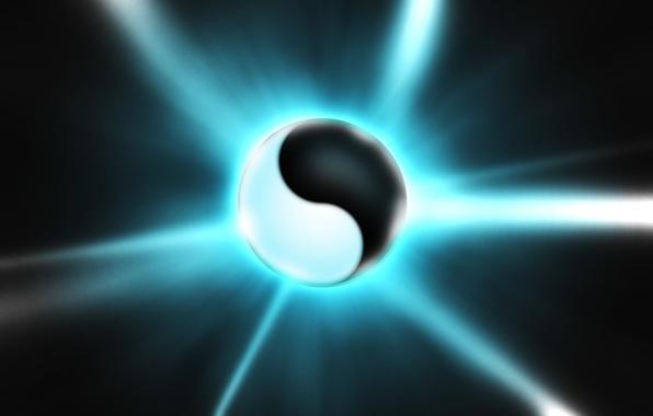 Картинка рендеринг, белое, шар, черное, инь-янь