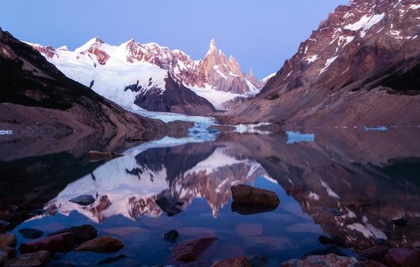 Картинка снег, горы, озеро, Argentina, Patagonia, Lago Torre, Los Glaciares National Park
