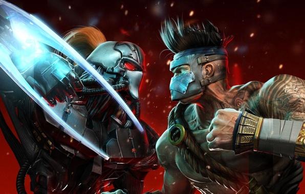 Картинка металл, борьба, тату, монах, схватка, кулак, бойцы, Киборг, Microsoft Game Studios, Killer Instinct, Double Helix …