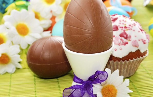 Картинка фото, Шоколад, Ромашки, Пасха, Яйца, Праздник, Еда, Бантик