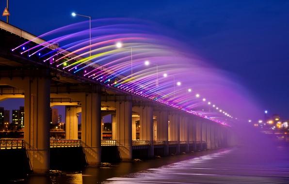 Картинка ночь, мост, город, огни, радуга, Азия, Корея, Сеул, радужный фонтан, banpobridge