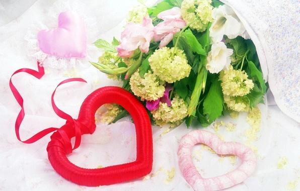 Картинка листья, цветы, красный, розовый, подарок, сердце, цветочки, сердечко, венок, праздники