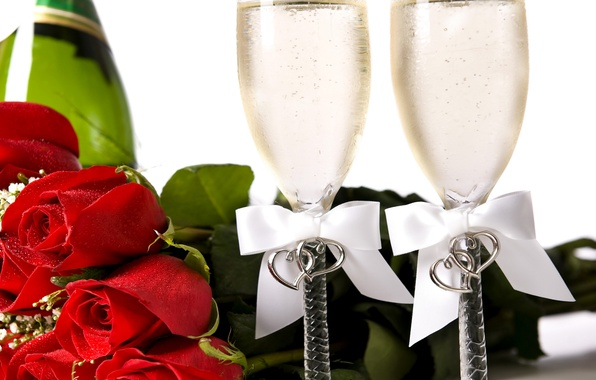 Картинка фото, Цветы, Красный, Бокалы, Розы, Праздник, Еда, Бантик, День Святого Валентина, Шампанское