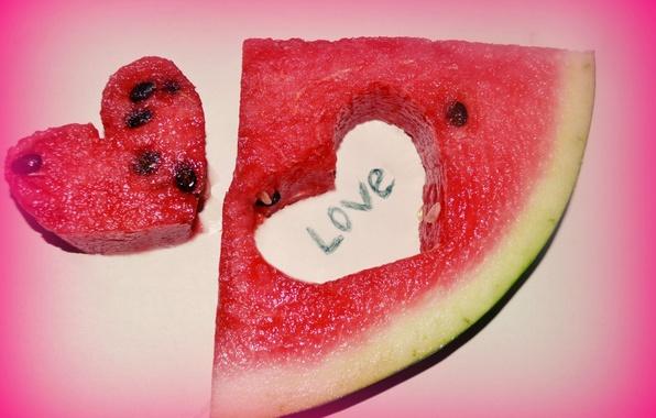 Картинка сердце, арбуз, долька, лове