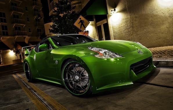 Картинка car, машина, авто, green, Ниссан, зелёная, racing, Nissan 370Z