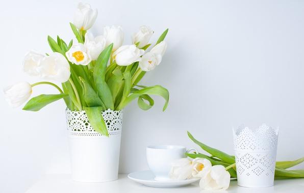 Картинка листья, цветы, весна, чашка, тюльпаны, ваза, белые, блюдце