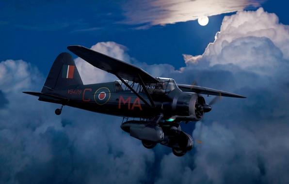 Картинка небо, ночь, луна, рисунок, арт, самолёт, британский, многоцелевой, WW2, Lysander, Лусандер, разведчик/ ночной бомбардировщик облака