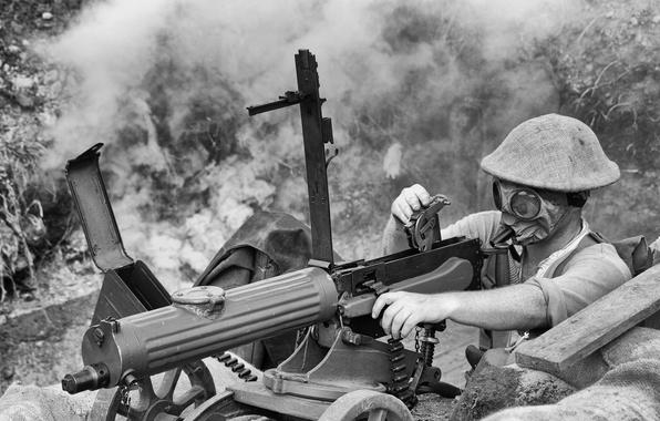 Картинка оружие, солдат, противогаз, мужчина, пулемёт