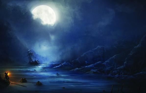 Картинка море, ночь, люди, луна, корабль, Assassin's Creed III, Кредо убийцы 3