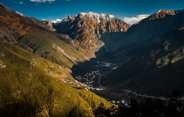 Картинка небо, горы, долина, Китай, тибет