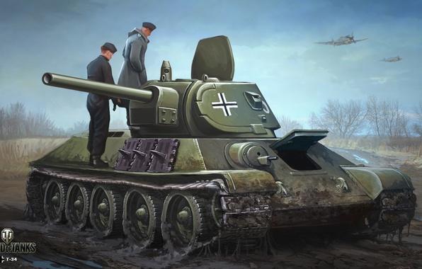 Картинка дорога, осень, небо, рисунок, грязь, арт, самолеты, танк, немцы, советский, средний, World of Tanks, трофей, ...