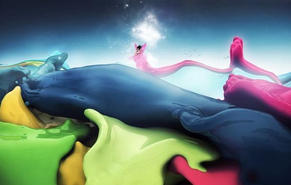 Картинка волны, небо, цвета, звезды, птицы, краска, человек, крылья, свечение, фея, изгибы