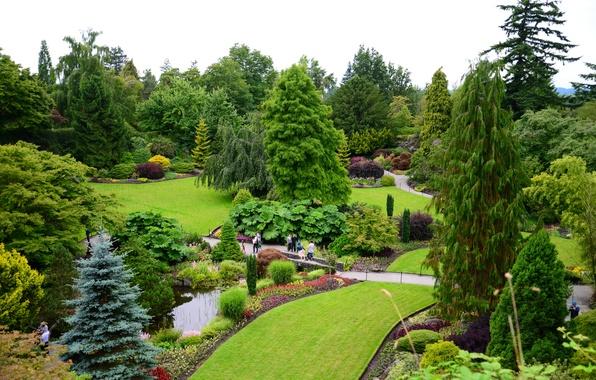 Картинка зелень, деревья, цветы, пруд, парк, газон, сад, Канада, дорожка, Ванкувер, мостик, кусты, Queen Elizabeth Garden