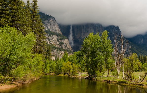 Картинка осень, облака, деревья, горы, тучи, природа, озеро, река, водопад, Yosemite