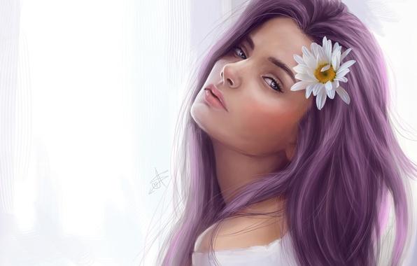 Картинка цветок, девушка, волосы, ромашка, арт, взгяд