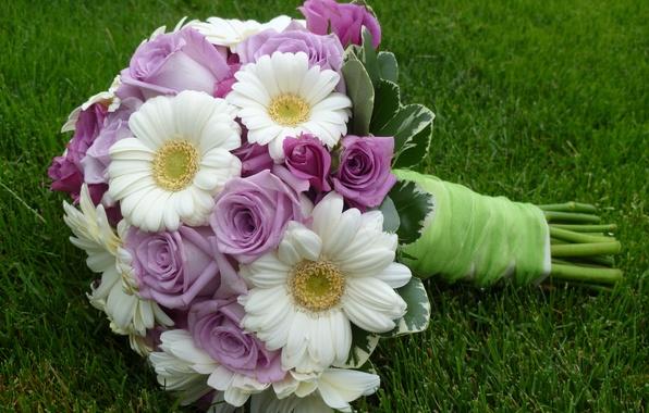 Картинка цветок, цветы, роза, розы, букет, rose, герберы, flower, свадьба, flowers, beautiful, cool, lovely, bouquet, gerberas, …