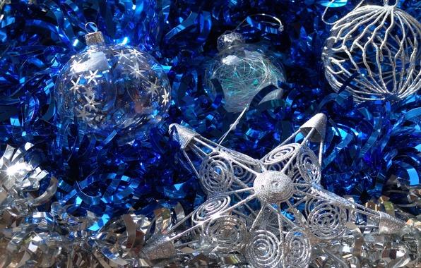 Картинка шарики, синий, праздник, игрушки, звезда, новый год, мишура, сверкающее