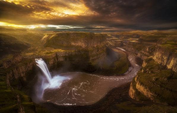Картинка река, водопад, утро, каньон, Вашингтон, США, штат, Палус