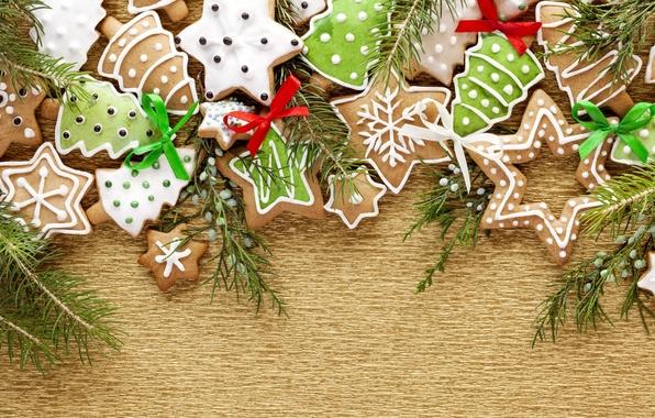 Картинка звезды, снежинки, праздник, елки, ель, ветка, Новый Год, печенье, Рождество, разное, фигурки, десерт, выпечка, глазурь, …