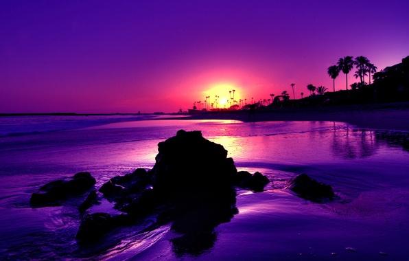 Картинка закат, камни, берег
