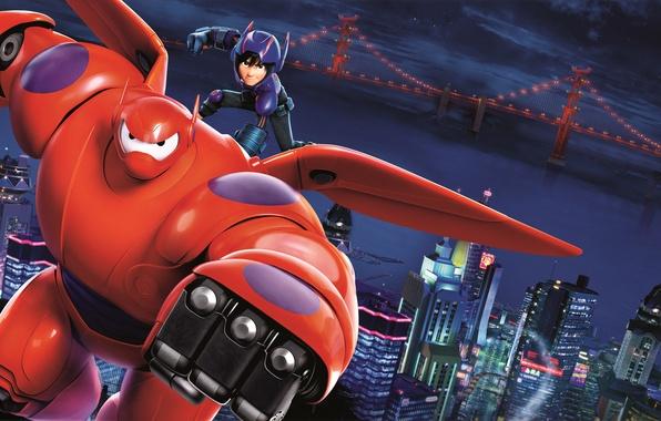 Картинка City, Orange, Action, Red, Sky, Hero, Stars, Blue, Robot, Bridge, Water, Color, with, White, and, …
