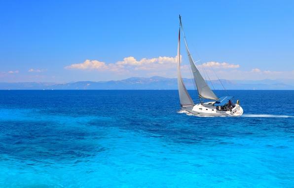 Картинка путь, настроение, океан, ветер, яхта, паруса
