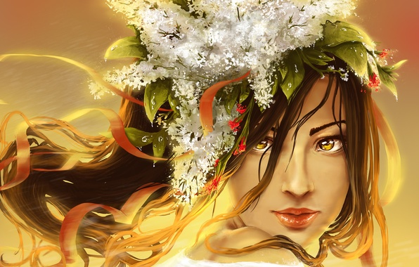Картинка взгляд, листья, девушка, цветы, лицо, волосы, арт, губы, живопись, сирень, ленточки, желтые глаза