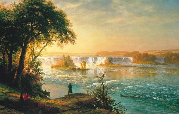 Картинка небо, облака, деревья, пейзаж, река, люди, лодка, водопад, картина, пороги, Albert Bierstadt