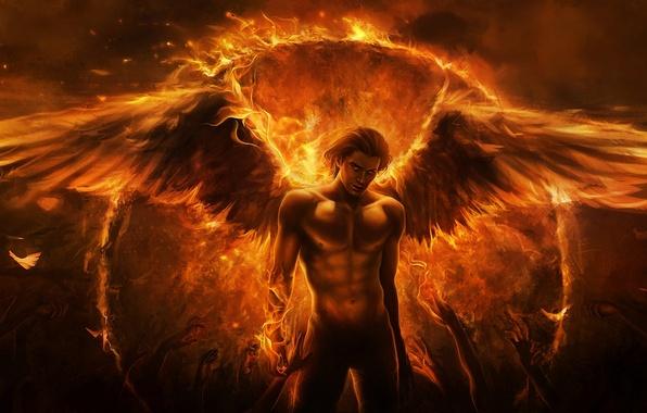 Картинка огонь, крылья, ангел, руки, демон, арт, парень, Imaliea