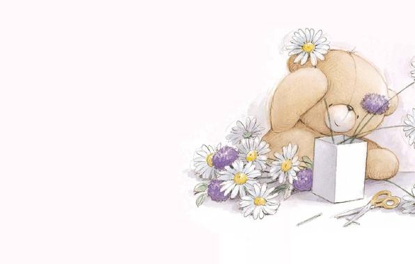 Картинка рисунок, ромашки, букет, арт, мишка, детская, Тэдди