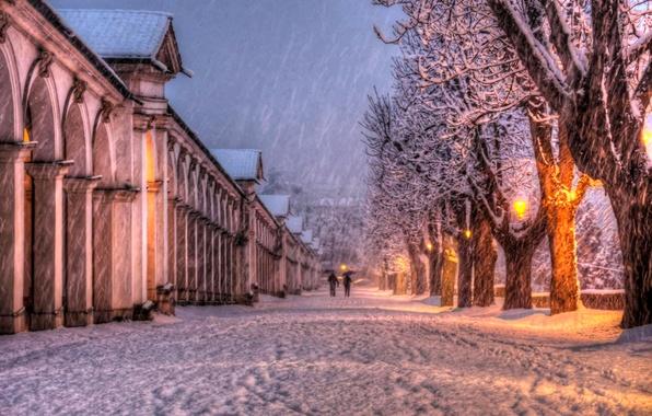 Картинка зима, небо, облака, снег, пейзаж, природа