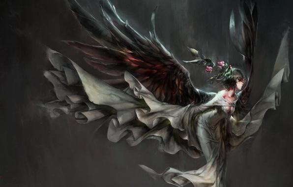 Арт hong девушка крылья цветы аниме