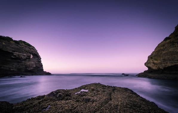 Картинка пляж, океан, скалы, рассвет, Новая Зеландия