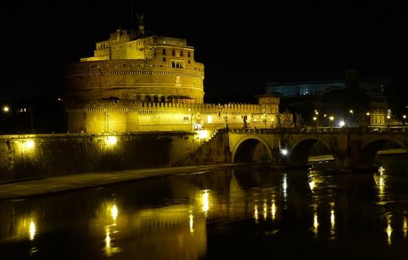 Картинка ночь, мост, огни, река, Рим, Италия, Тибр, замок Святого Ангела