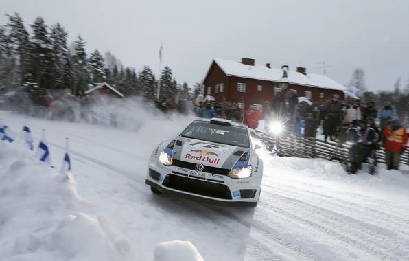 Картинка Снег, Volkswagen, Люди, Свет, Вспышка, Занос, WRC, Rally, Передок, Polo, Фанаты