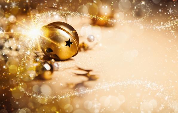 Картинка звезды, украшения, lights, огни, шары, новый год, new year, balls, stars, decoration, ornaments, Золотое рождество, …