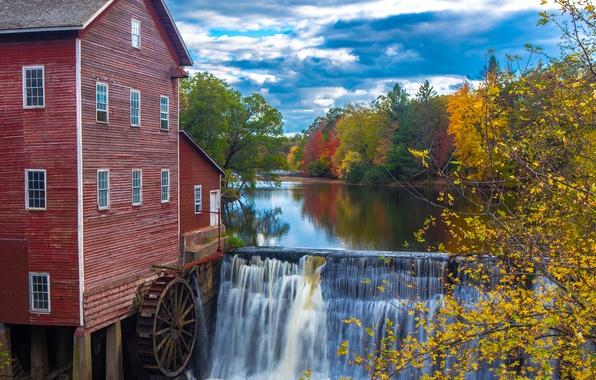 Картинка осень, лес, небо, деревья, дом, река, водопад, колесо, плотина, водяная мельница