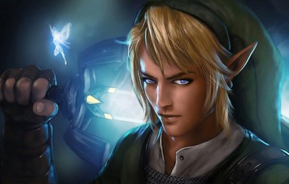 Картинка взгляд, эльф, меч, фея, парень, The Legend of Zelda, Link