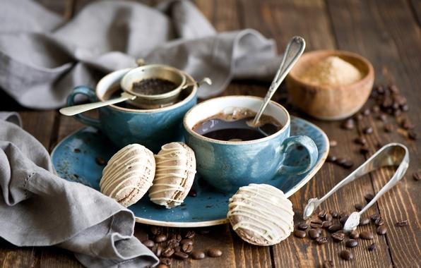 Картинка кофе, зерна, печенье, ложка, чашки, сахар, натюрморт, десерт, выпечка, сладкое, сервиз, глазурь, Anna Verdina, ситечко, …