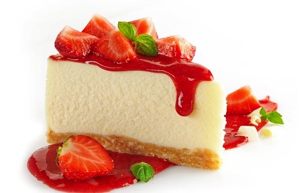 Картинка ягоды, клубника, пирог, торт, пирожное, мята, десерт, выпечка, джем, strawberry, dessert, чизкейк, cheesecake