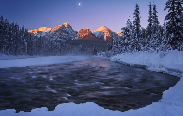 Картинка зима, снег, горы, ночь, природа, река, луна