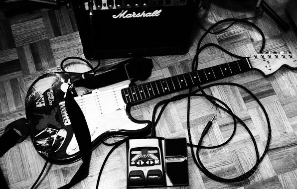 Картинка стиль, музыка, фото, обои, чёрно-белое, кабель, штекер, инструмент, шнур, музыкальный, Электрогитара
