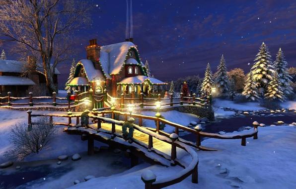 Картинка зима, звезды, снег, украшения, ночь, мост, огни, река, ручей, праздник, елка, ель, Рождество, фонари, Новый ...