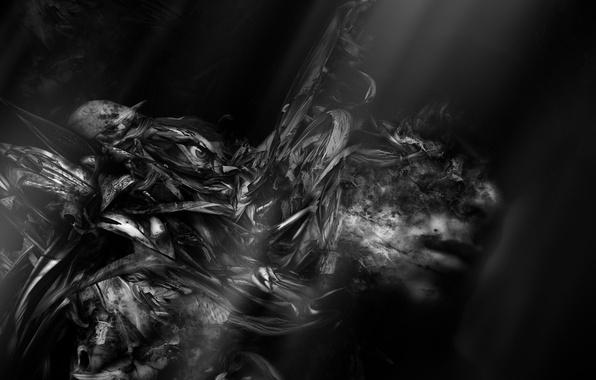 Картинка ночь, страх, фантастика, черный, темно, человек