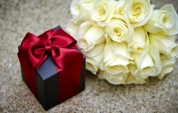 Картинка коробка, подарок, розы, love, бант, heart, flowers, romantic, Valentine's Day, gift, roses