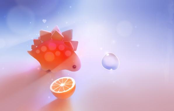 Картинка оранжевый, апельсин, динозавр, пузырь, сердечко, apofiss